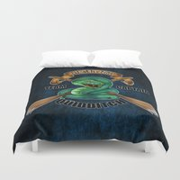 quidditch Duvet Covers featuring Slytherine quidditch team captain by JanaProject