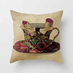 Chit chat over coffee Throw Pillow