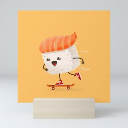 Kawaii sushi skateboarding Mini Art Print