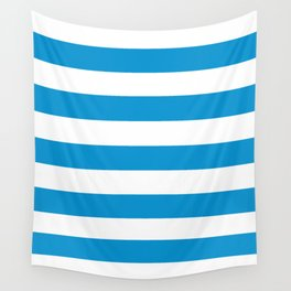 Rich electric blue - solid color - white stripes pattern Wall Tapestry