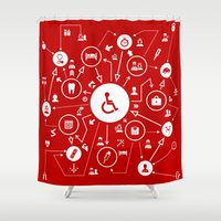 medicine Shower Curtains featuring Medicine the scheme by aleksander1