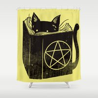 witchcraft Shower Curtains featuring Witchcraft Cat by Tobe Fonseca