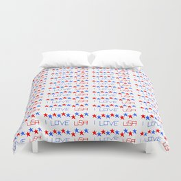 I love USA 4- america,us,united states,american,new york,hollywood,spangled,banner,star and strips, Duvet Cover