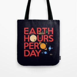 Earth Hours Per Day Tote Bag