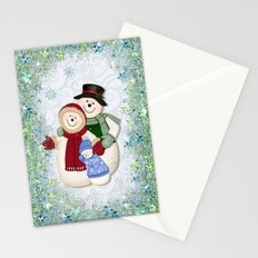 Snowman and Family Glittered Stationery Cards