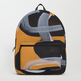Mid Century Abstract Black & Yellow Fun Pattern Vintage Black White Bubbles Backpack