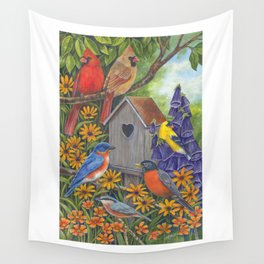 Birds and Birdhouse Wall Tapestry