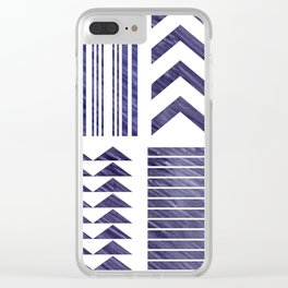 Navy Tribal Print Clear iPhone Case