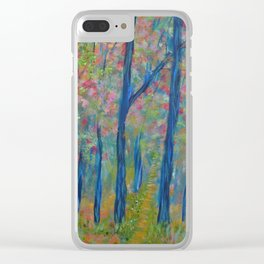 Impressionism Tree Forest, Modern Home Decor, Tree Art Clear iPhone Case
