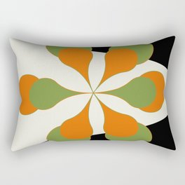 Mid-Century Modern Art 1.4 - Green & Orange Flower Rectangular Pillow