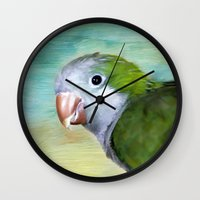 parrot Wall Clocks featuring Parrot by ThePhotoGuyDarren