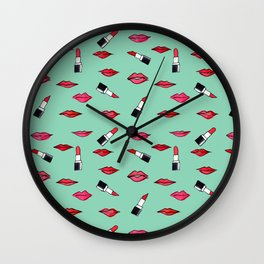 Lips and lispticks pattern in tropical background Wall Clock