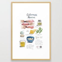 illustrated recipes: calamari ripieni Framed Art Print