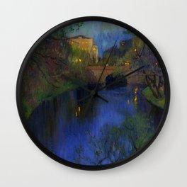 Twilight in Riga, Latvia by Nikolay Bogdanov-Belsky Wall Clock