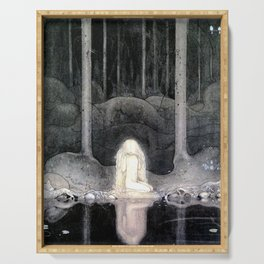 She is Looking For Her Heart By John Bauer Serving Tray