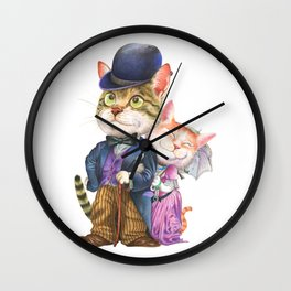 A couple of cats in retro fashion Wall Clock