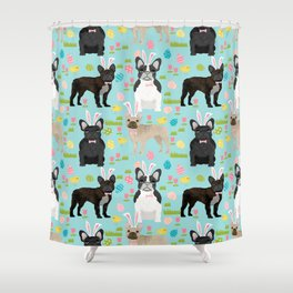 French Bulldog mixed coat easter eggs easter spring themed dog art pet portraits Shower Curtain