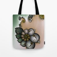 novelty Tote Bags featuring Trinket Flower Fractal by Moody Muse
