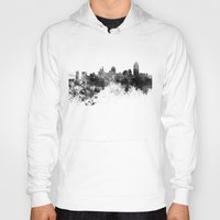 cincinnati Hoodies featuring Cincinnati skyline in black watercolor by Paulrommer