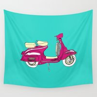 vespa Wall Tapestries featuring Scooter III // Vespa by bluebutton studio