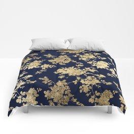 Elegant vintage navy blue faux gold flowers Comforters