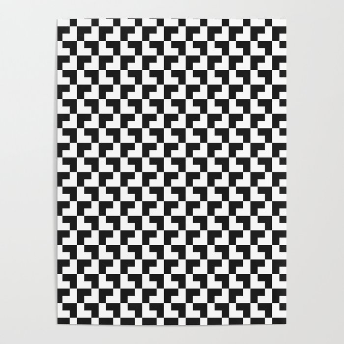 Black and White Tessellation Pattern - Graphic Design Poster