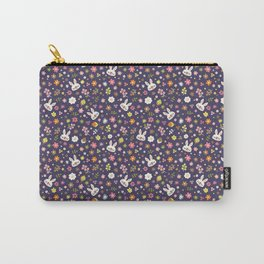 Bunny Floral Pattern Design / Purple Carry-All Pouch