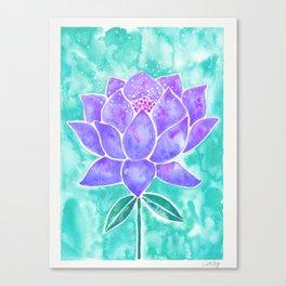 Sacred Lotus – Lavender Blossom on Mint Palette Canvas Print