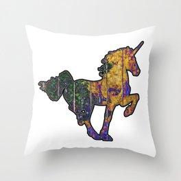 Wheather Beaten Wooden Unicorn Throw Pillow