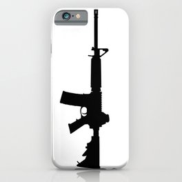 AR15 in black silhouette on white iPhone Case