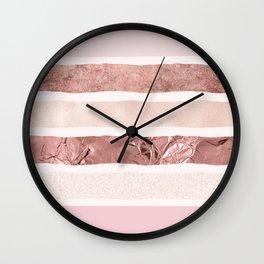 Modern blush pink faux rose gold geometrical stripes Wall Clock