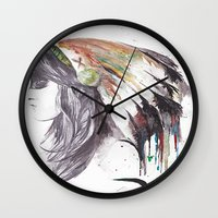 indiana Wall Clocks featuring Indiana  by Megan Sheridan