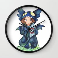 toothless Wall Clocks featuring toothless by noCek