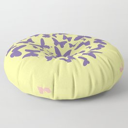 Ultra violet heart shape made from butterfly silhouettes. Floor Pillow