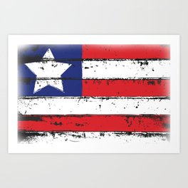 Wood Grain American Flag 4th of July with Fade Print Art Print