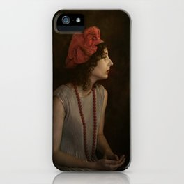 Girl with red necklace iPhone Case