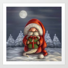 Little Santa with a gift Art Print