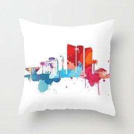 Tel Aviv Cityscape Watercolor Throw Pillow