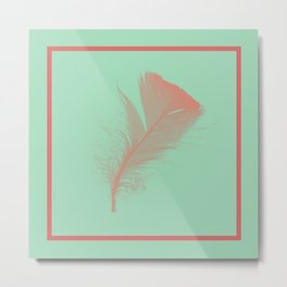 Hemlock Green Feather design Metal Print