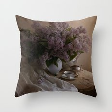 Still life with dishes and fresh lilac Throw Pillow