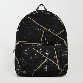 Black Marble Gold Geometric Glam #1 #geo #decor #art #society6 Backpack