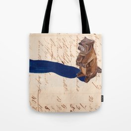 Vintage Wood Carved Beaver in Gouache Tote Bag
