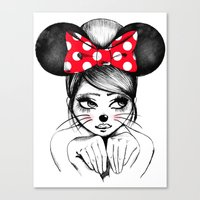 minnie Canvas Prints featuring Minnie by theavengerbutterfly