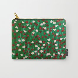 Red and White Flowers on Green Grass Carry-All Pouch