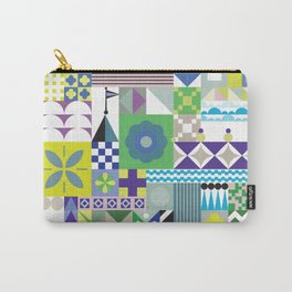 Blue Green Turquoise Whimsical Prince Pattern Carry-All Pouch