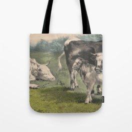 Vintage Cattle Farm Illustration (1856) Tote Bag