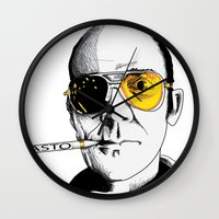 hunter s thompson Wall Clocks featuring hunter by Darby Krow