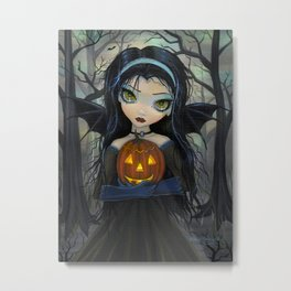 October Woods Cute Vampire holding Pumpkin Gothic Big Eye Art Metal Print