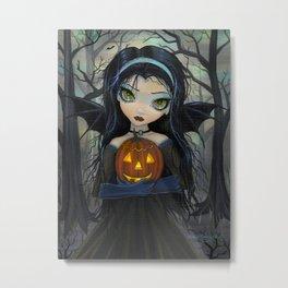 October Woods Cute Vampire holding Pumpkin Gothic Big Eye Art Metal Print