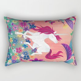Floral Frolic Unicorn Rectangular Pillow